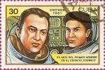 Sellos de America - Cuba -  XX Aniv. del primer hombre en el espacio. Ryumen and Leonid Popov.