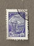 Stamps Russia -  Avión sobrevolando presa hidroeléctrica