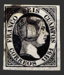 Stamps Europe - Spain -  Isabel II - 6 c.