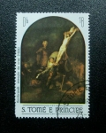 Stamps Africa - São Tomé and Príncipe -  Rembrandt: Elevacion de la Cruz
