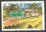 Stamps São Tomé and Príncipe -  1166 - locomotora con vagón para el transporte de pasajeros
