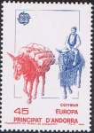 Stamps Europe - Andorra -  EUROPA 1988. MEDIOS DE COMUNICACIÓN Y TRANSPORTE. TRANSPORTE ANTIGUO EN CABALLERÍAS