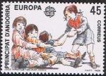 Stamps Europe - Andorra -  EUROPA 1989. JUEGOS INFANTILES. ESTIRAR CEBOLLAS