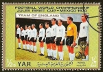 Sellos del Mundo : Asia : Yemen : FUTBOL - MEXICO 1970 - TEAM OF ENGLAND
