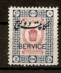 Stamps Asia - Iran -  Sello de 1915 con Sobrecarga Bilingue.- Servicio.