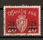 Stamps Europe - Norway -  Escudo de Noruega - Servicio - Sobrecargado.