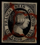 Stamps Europe - Spain -  6 cuartos Isabel II