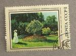 Sellos de Europa - Rusia -  Dama en jardín
