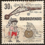 Sellos del Mundo : Europa : Checoslovaquia : Detalle decorativo.Pistola con bloqueo de ruedas,Cheb,cerca de1580
