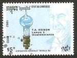 Stamps : Asia : Cambodia :  1062 - Edison y la lámpara incandescente