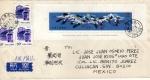 Sellos de Asia - China -  Carta circulada de China a México-Fauna s/s- White Crane