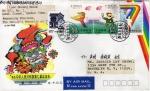 Sellos de Asia - China -  Carta circulada de China a Brooklyn New York Usa primer día de emisión-fdc-The First East Asian Game