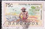 Sellos del Mundo : America : Barbados : pescador
