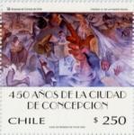 """Stamps : America : Chile :  """"450 AÑOS CIUDAD DE CONCEPCION"""""""