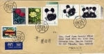 Sellos del Mundo : Asia : China : Carta circulada de China a México-pandas,flores