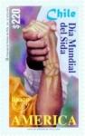 "Stamps : America : Chile :  ""SERIE AMERICA UPAEP"", DIA MUNDIAL DEL SIDA , LUCHA CONTRA EL SIDA"