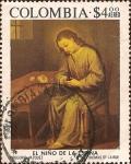 Stamps of the world : Colombia :  Pinturas de Colombia Colonial y Moderna: El Niño de la Espina, por Gregorio Vazquez
