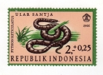 Sellos del Mundo : Asia : Indonesia : Reptiles semipostal  Reticulated phython