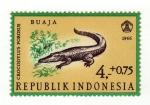 Sellos del Mundo : Asia : Indonesia : Reptiles semipostal Saltwater Crocodile.