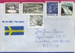 Sellos del Mundo : Europa : Suecia : Sobre circulado de Suecia a México-Fauna--