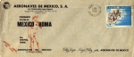 Sellos del Mundo : America : México : Sobre cancelación especial-Primer vuelo México-Roma(AeroMéxico)
