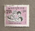 Stamps Asia - South Korea -  Soldado con familia