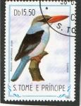 Stamps São Tomé and Príncipe -  AVES.   HALCYON  MALIMHICUS  DRYAS