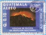 Stamps Guatemala -  Volcán de Pacaya en erupción nocturna