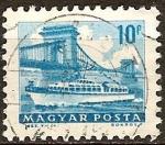 Sellos del Mundo : Europa : Hungría : Barco en el Puente de las Cadenas-Budapest