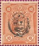 Sellos de America - Perú -  Sello con Sobrecarga Escudo Peruano.