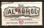 Sellos del Mundo : Europa : Alemania : Nada de alcohol en el tráfico por carretera (matrícula del vehículo abollada)