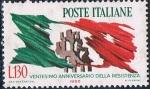 Sellos del Mundo : Europa : Italia : 20 ANIVERSARIO DE LA RESISTENCIA. BANDERA DESGARRADA Y RUINAS. Y&T Nº 921