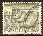 Sellos de Europa - Suiza -  Tecnolgia y paisaje(Estación de Poser en el lago Ginebra en Verbois).
