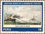 Sellos de America - Perú -  Nuestros Héroes de la Guerra del Pacífico: Combate Naval de Iquique.