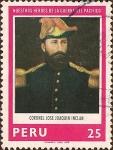 Stamps Peru -  Nuestros Héroes de la Guerra del Pacífico: Coronel José Joaquín Inclan.