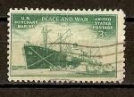 Stamps America - United States -  En honor a la Marina Mercante./ Carguero Liberty Ship.