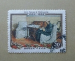 Stamps Russia -  Lenin escribiendo.