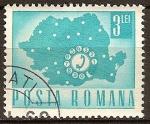 Sellos del Mundo : Europa : Rumania : Transp. y telecomu.-Teléfono de línea y Mapa.