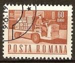 Sellos del Mundo : Europa : Rumania : Transp. y telecomu.-Camión de paquetes eléctrico(p).