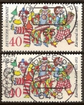 Sellos de Europa - Alemania -  150a.Del Carnaval en Colonia 1823-1973.Personas enmascaradas en el carnaval.