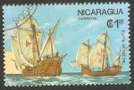 Stamps America - Nicaragua -  1434 - 500 anivº del descubrimiento de América, Flota de Colón