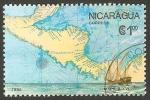 Stamps America - Nicaragua -  1433 - 500 anivº del descubrimiento de América, Mapa del siglo XVI