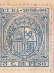 Sellos de America - Cuba -  Escudo España Ed 1898-99