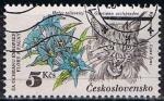 Stamps Czechoslovakia -  2534 - Flor Gentiana asclepiadea y lince