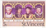 Stamps Saint Vincent and the Grenadines -  Silver Jubilee her Majesty queen Elizabeth II