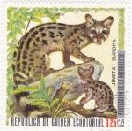 Stamps Equatorial Guinea -  PROTECCION DE LA NATURALEZA -Jineta-Europa