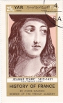 Stamps Yemen -  HISTORIA DE FRANCIA-  -Juana de Arco 1412-1431