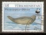 Stamps Asia - Turkmenistan -  FOCA   ECHADA   SOBRE   LA   NIEVE