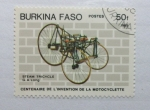 Sellos del Mundo : Africa : Burkina_Faso : Centenario de la invencion de la Motocicleta. Triciclo a Vapor.