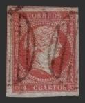 Stamps Europe - Spain -  Isabel II - 4 c. (Filigrana  lazos)